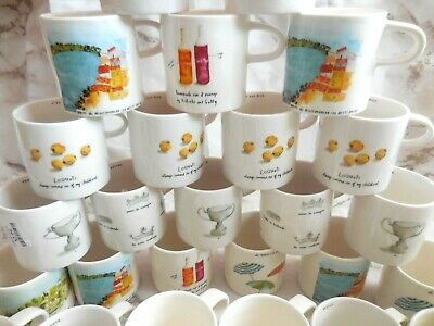 RAE DUNN French Sketch Boutique Espresso Coffee Mugs Tea Cups Pastry Plates NEW