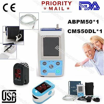 CONTEC Ambulatory Blood Pressure Monitor 24h Holter+Software+Pulse Oximeter USA
