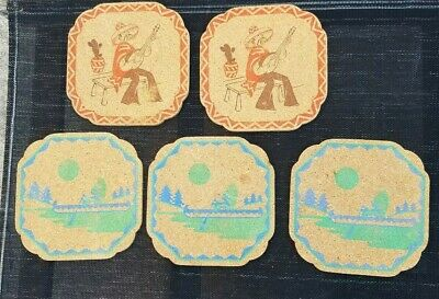 5 Retro Cork Place Mats 2 Mexicans &3 Red Indians