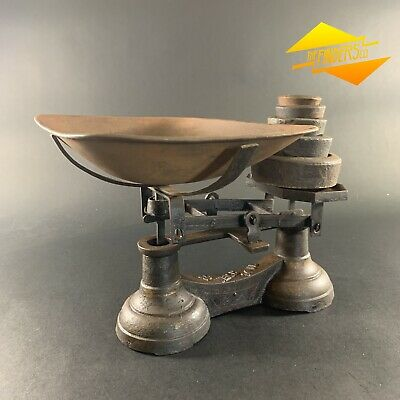 ANTIQUE CAST-IRON 14lb VICTORIAN GROCERY SCALES & WEIGHTS VINTAGE RUSTIC KITCHEN