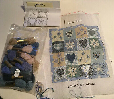 Jolly Red Tapestry Kit Hearts & Flowers Cushion Front Small Part Started