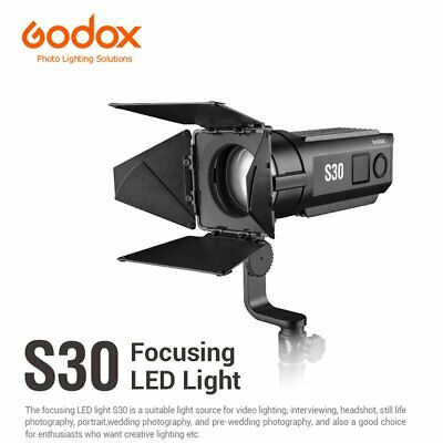 Godox S30 30W 5600K Continuous LED Light Strobe Studio Focusing Lamp + Barn Door