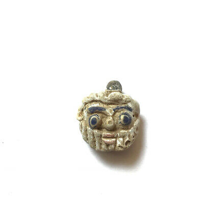 Stunning! Ancient Bread Man Phoenician Face Glass Bead Roman Empire Rare Amulet