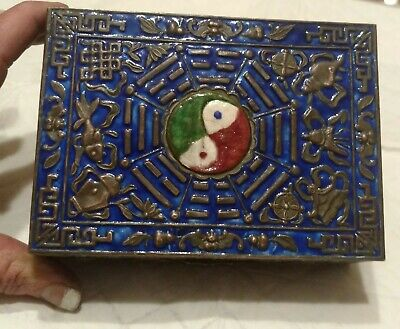 RARE Antique Chinese Solid Silver Embossed & Enamel Box c.1800s Yin Yang