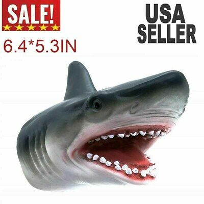 Shark Hand Puppet Soft Kids Toy Gift Great Cake Decoration Topper Jaws Child US