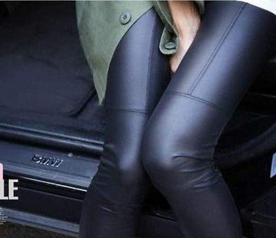 Sexy Women Shiny Stretch High Waist Skinny Faux PU Leather Tight Leggings Pants