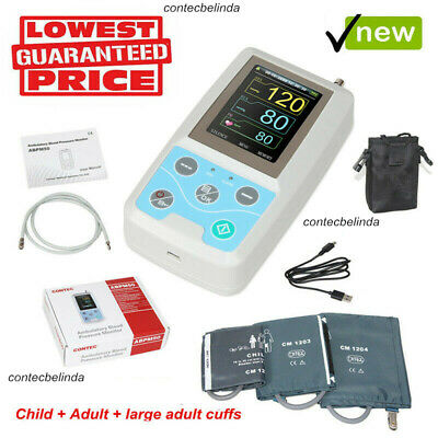 CONTEC 24 Hours ABPM50 NIBP Monitor Ambulatory Blood Pressure Holter (3 Cuffs)