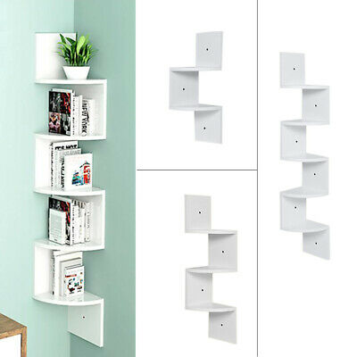 2/3/5Tier Floating Wall Shelves Corner Shelf Storage Wood Display Bookcase Decor