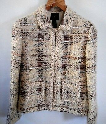 Womens DD Collection Blazer Jacket Wool Mohair Silk Knitted Sequence Purls Sz 8
