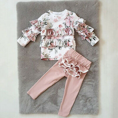 Autumn Newborn Baby Girl Clothes Long Sleeve Floral Tops Pants Outfit Set