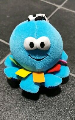 BABY Plush LAMAZE Blue Octopus Clip On Toy Squeaky Toy - Pram Cot Buggy Toy