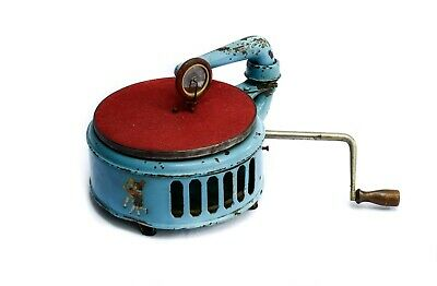 A child's gramophone blue Induphon + album Pinocchio + needles