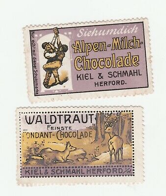 Germany- Kiel & Schmall x 2 Chocolade Poster stamps- Clean no gum