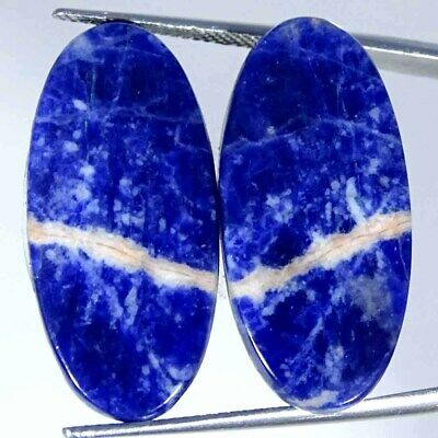 21.80Cts Natural Blue Sodalite Pair Oval Cabochon Loose Gemstone