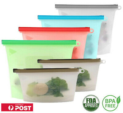 Reusable Silicone Food Storage Pouches Preservation Bags Airtight Seal Container