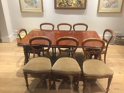 Victorian Wind Out Mahogany Dining Table And 8 Repro Period Mahogany Chairs