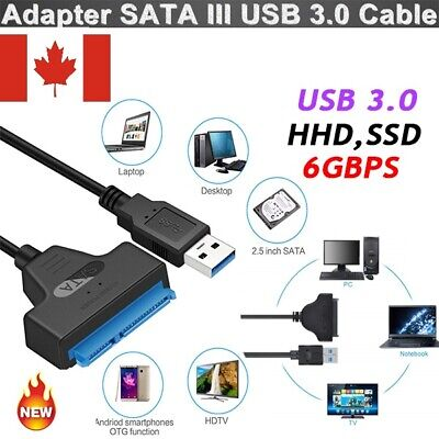 "USB 3.0 To 2.5"" SATA III Hard Drive Adapter Cable-SATA To USB Converter-Black CA"