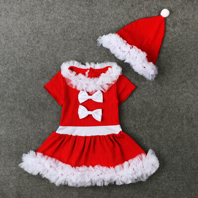 New Fancy Christmas Dress Sleeve Girls Kids Xmas Red Santa Party Outfit Short