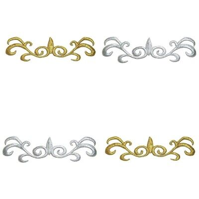 Silver Gold Iron-on Applique Embroidery Trim for Ballet Dance Stage Costume #134
