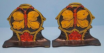 ANTIQUE BUTTERFLY ON FLOWER CAST IRON BOOKENDS  CIRCA 1920's