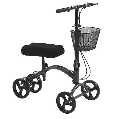 Drive Height Adjustable Knee Walker with Hand Brakes and Fold Down Tiller