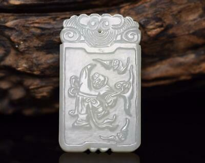 Chinese Exquisite Hand-carved child Carving Hetian jade Pendant