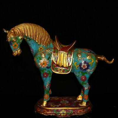 Chinese Exquisite Handmade Copper cloisonne horse statue