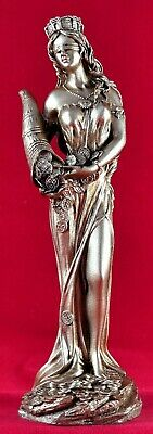 Fortuna Tyche Greek Goddess of Luck, Fate, and Fortune Gold Patina Statue NEW