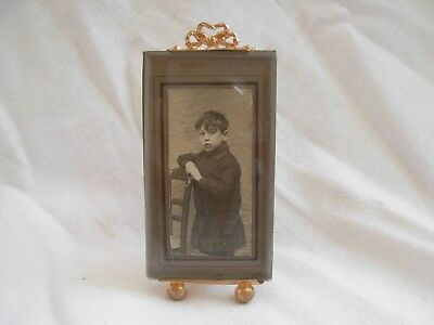 ANTIQUE FRENCH GILT BRASS BEVELED GLASS PHOTO FRAMES,,LATE 19th CENTURY.