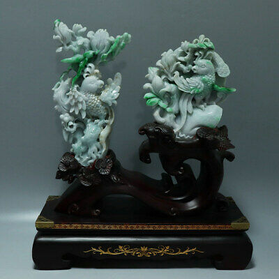 Chinese Exquisite Hand-carved flower bird Carving natural jadeite jade statue