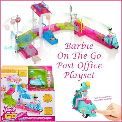 MATTEL BARBIE On The Go Post Office Playset Inc. Motorised Scooter NEW FHV85