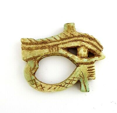 Very Rare Ancient Egyptian Faience Eye of Horus Amulet necklace Pectoral antique
