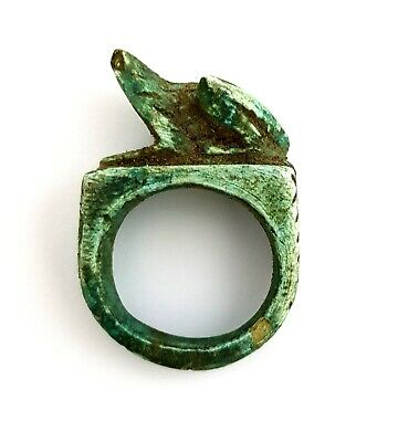 Very rare Ancient royal Ring Egyptian stone Egypt Antique Hieroglyphic frog