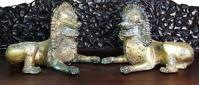 Antique Pair Bronze Gild Temple Guardian Lion Singha Statues Thai/Siam SE Asia