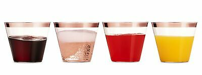 100 Rose Gold Plastic Cups 9Oz Clear Plastic Cups Old Fashioned Tumblers Wedding