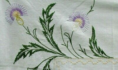 """Thistle VTG 35"""" x 33"""" TABLECLOTH FLORAL White w/Purple Yellow Green Embroidery"""