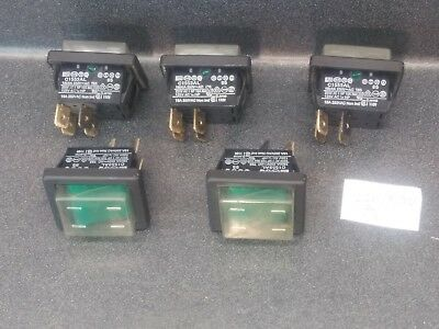 (Lot Of 5) Arcolectric C1553Al Rocker Switch Maintained Green