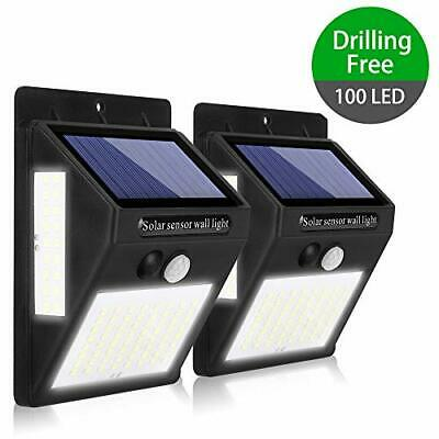 100 LED Luces Solares Para Exteriores, Luces de Pared de (100LED 2-Paquete)
