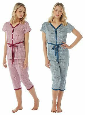 LADIES PYJAMAS Cropped Trousers GEOMETRIC BERRY BLUE 10 12 14 16 18 20 Tie waist