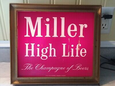 Man Cave BEER SIGN MILLER HIGH LIFE LIGHTED SIGN THE CHAMPION OF BEERS