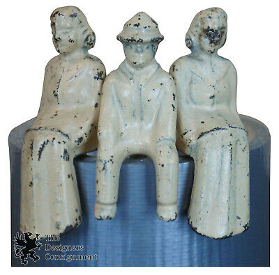 3 Antique Cast Iron White Painted Toy Driver Figures People Man Two Women