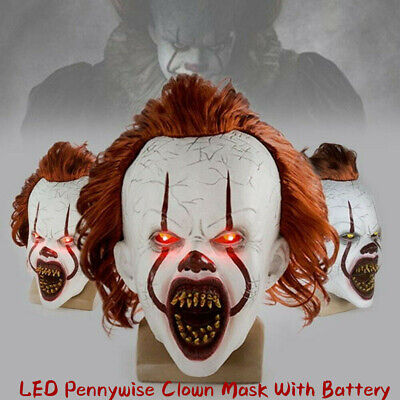 Halloween LED Pennywise Mask It Chapter Two Cosplay Scary Joker Mask Props 2019