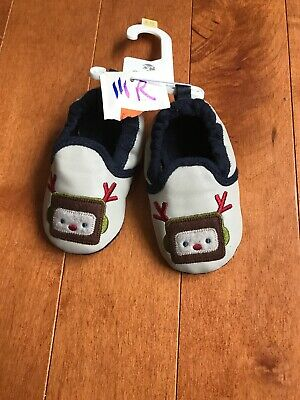 NWT Old Navy 6-12m Baby Crib Shoes Reindeer W Earmuffs Christmas Holiday