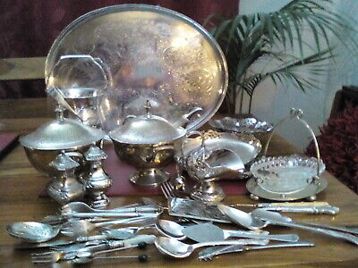 A Vintage Silver Plated Job Lot - Mixed Cutlery, Trays, Bon Bon Dishes And More
