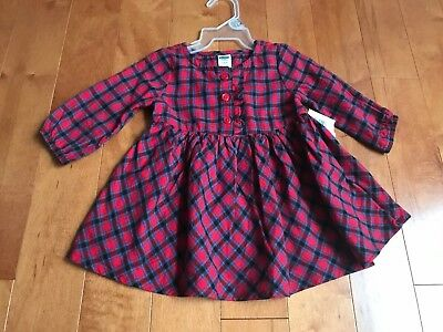 NWT Baby Infant Girl Old Navy 3-6 Months Christmas Red Tunic Dress Plaid