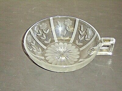 Branded Vintage Heisey Clear Floral Etched Square Handled Nappy Bowl