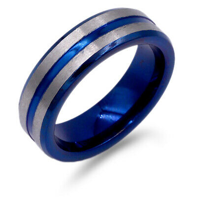8MM Stainless Steel Ring for w. Blue & Silver Plated Band Wedding Men's Ring