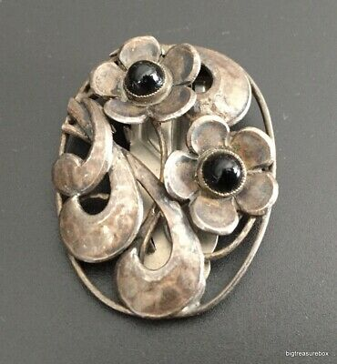 Vtg ANTIQUE Victorian or Art Deco Dress Scarf Clip Brooch Marked CZECHOSLOVAKIA