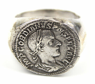 Ancient Rare Roman Silver Ring with Gordian Coin Silver Denarius 2-3th AD