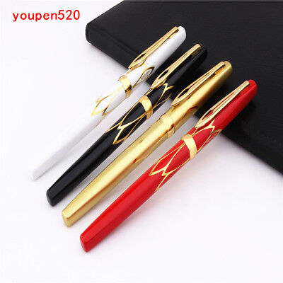 3019 EF Fountain Pen New Luxury Hero No Brushed Satin Gold with Gold Trim